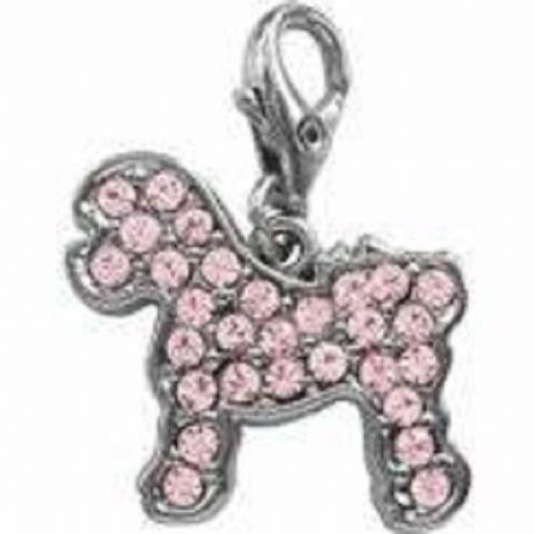 BICHON FRISE PINK CRYSTAL CHARM FOR BAGS PHONES JEWELLERY CLEAR CLIP ON CHARM